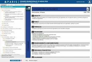 le logiciel et le portail du centre de formation de la Mairie de Paris